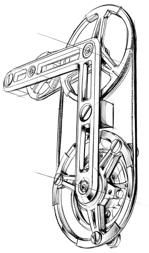 Système de micro-courroies pour activer le tourbillon de la Monaco V4 tourbillon